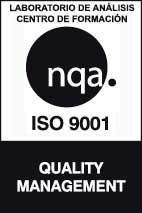 Logo certificación NQA ISO9001 BW laboratorio y formación
